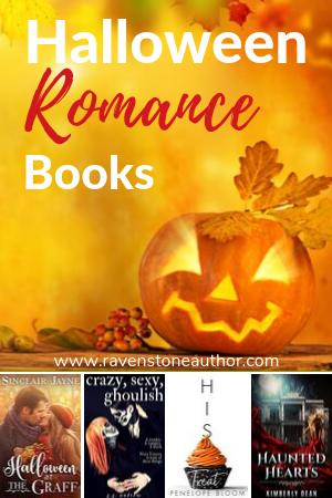 a pumpkin with some halloween themed romance novels